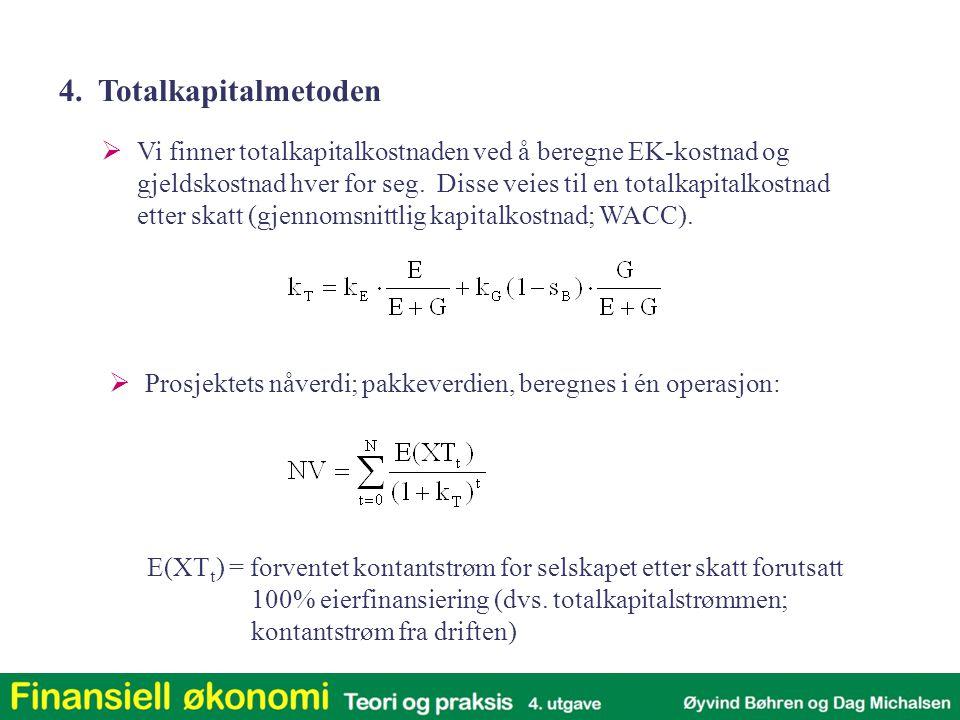 E(XT t ) = forventet kontantstrøm for selskapet etter skatt forutsatt 100% eierfinansiering (dvs. totalkapitalstrømmen; kontantstrøm fra driften)  Vi