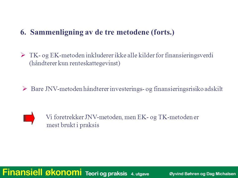  TK- og EK-metoden inkluderer ikke alle kilder for finansieringsverdi (håndterer kun renteskattegevinst)  Bare JNV-metoden håndterer investerings- o