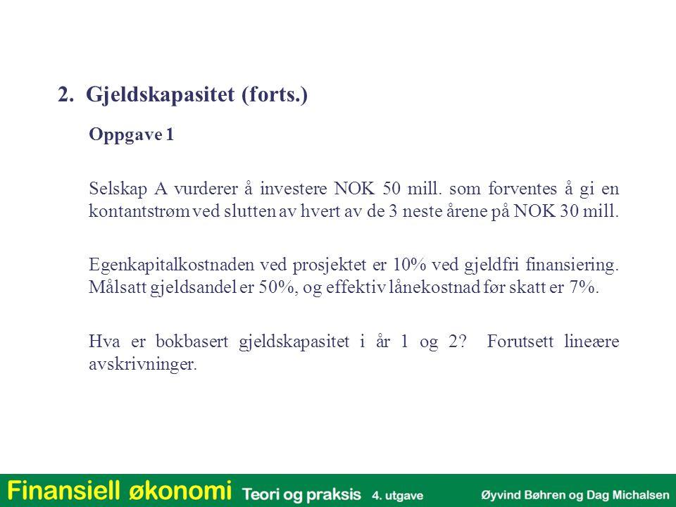 Justert nåverdi: a) Verdi av investeringen alene, gitt 100% EK-finansiering: k U = 0,158 (fra slide 26)NV 15,8% = 0,23473 b) Verdi av finansieringen (spart skatt pga.