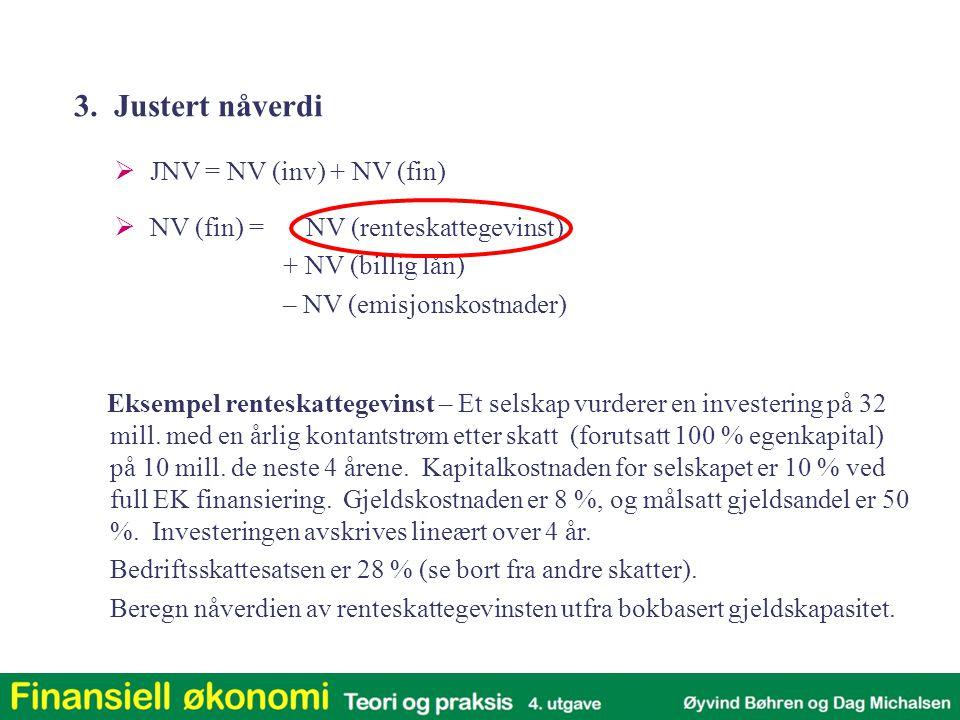 Eksempel renteskattegevinst NV(inv) 0 NV (fin) = NV (renteskattegevinst) + NV (billig lån) – NV (emisjonskostnader) JNV = 3.