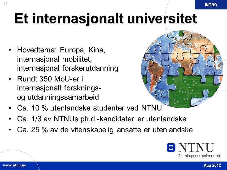 11 Et internasjonalt universitet Hovedtema: Europa, Kina, internasjonal mobilitet, internasjonal forskerutdanning Rundt 350 MoU-er i internasjonalt forsknings- og utdanningssamarbeid Ca.