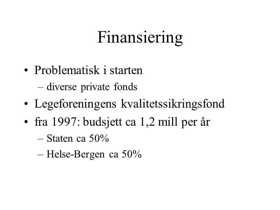 Finansiering Problematisk i starten –diverse private fonds Legeforeningens kvalitetssikringsfond fra 1997: budsjett ca 1,2 mill per år –Staten ca 50% –Helse-Bergen ca 50%