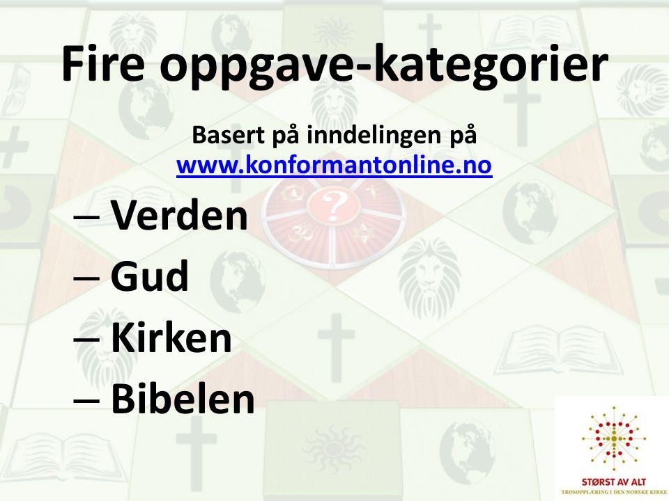 Fire oppgave-kategorier Basert på inndelingen på www.konformantonline.no www.konformantonline.no – Verden – Gud – Kirken – Bibelen