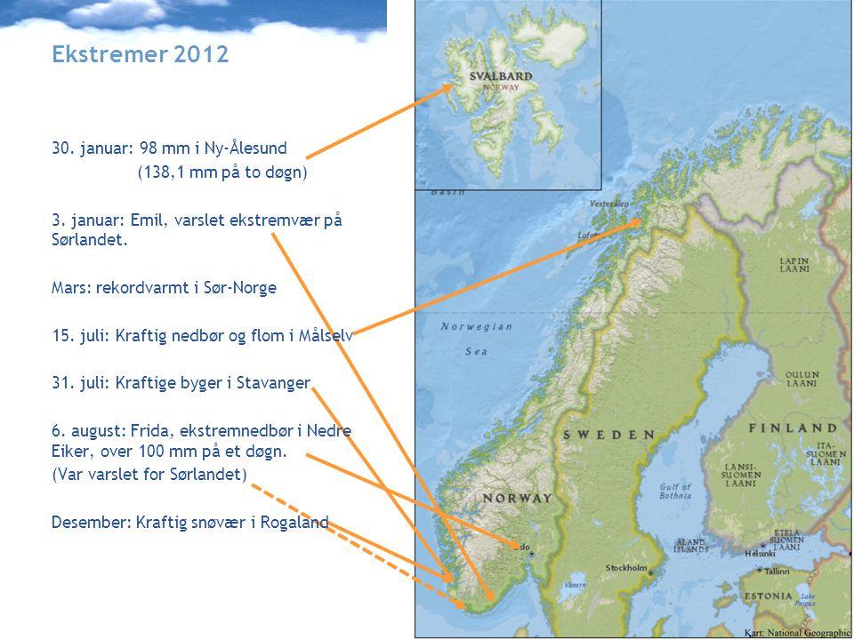 Meteorologisk institutt met.no Ekstremer 2012 30.