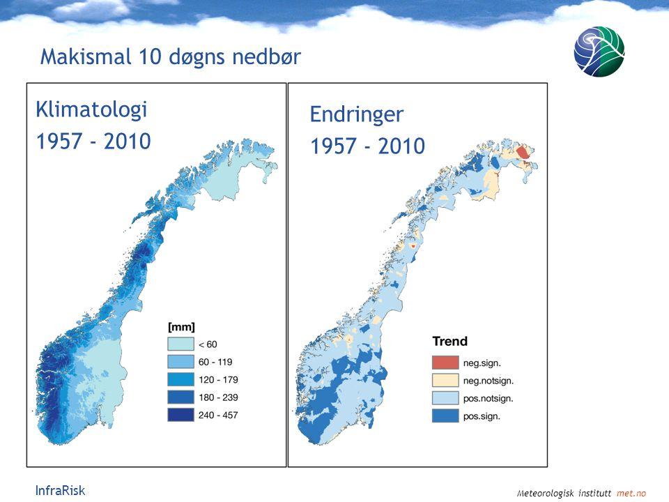 Meteorologisk institutt met.no InfraRisk Maksimal døgnnedbør Makismal 10 døgns nedbør Klimatologi 1957 - 2010 Endringer 1957 - 2010