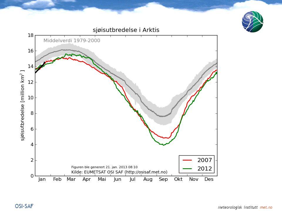 Meteorologisk institutt met.no Jul-Aug-Sep 2012Okt-Nov-Des 2012 Temperatur ved bakken ( o C) Avvik fra 30-årsmiddel 1981-2010 NCEP/NCAR