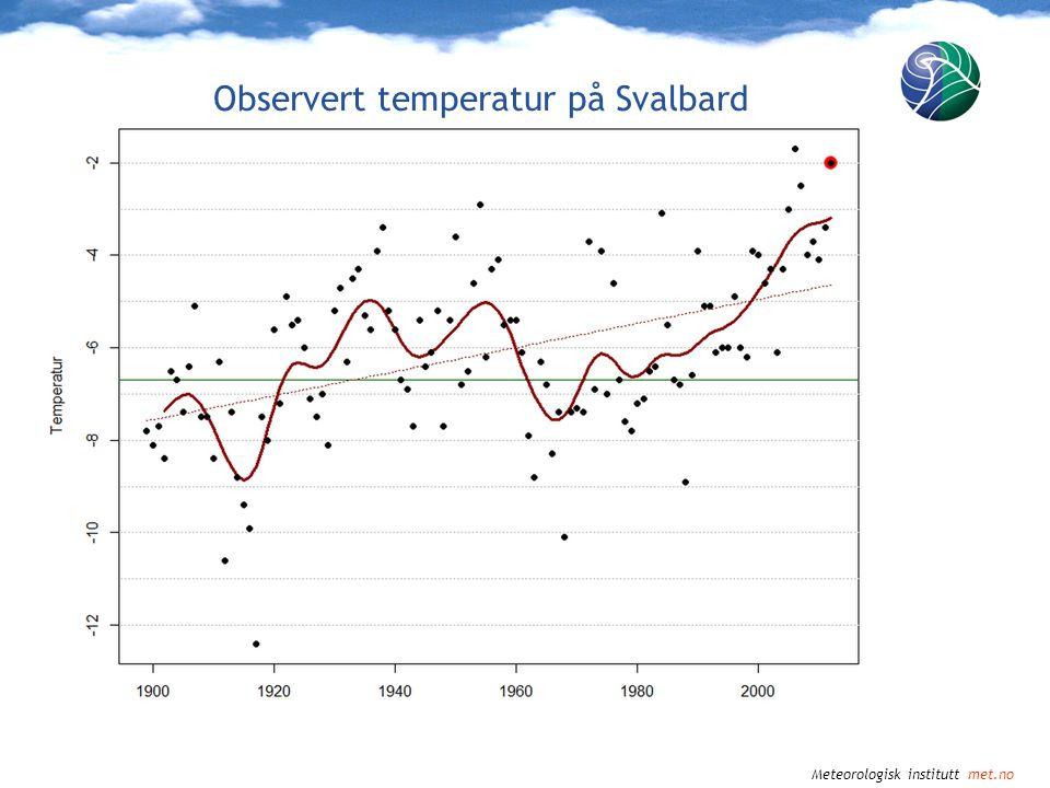 Meteorologisk institutt met.no Observert og projisert temperatur i Norge