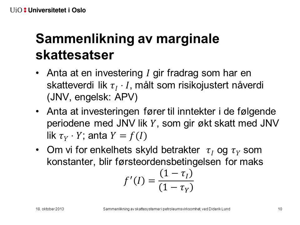 Sammenlikning av marginale skattesatser 18.