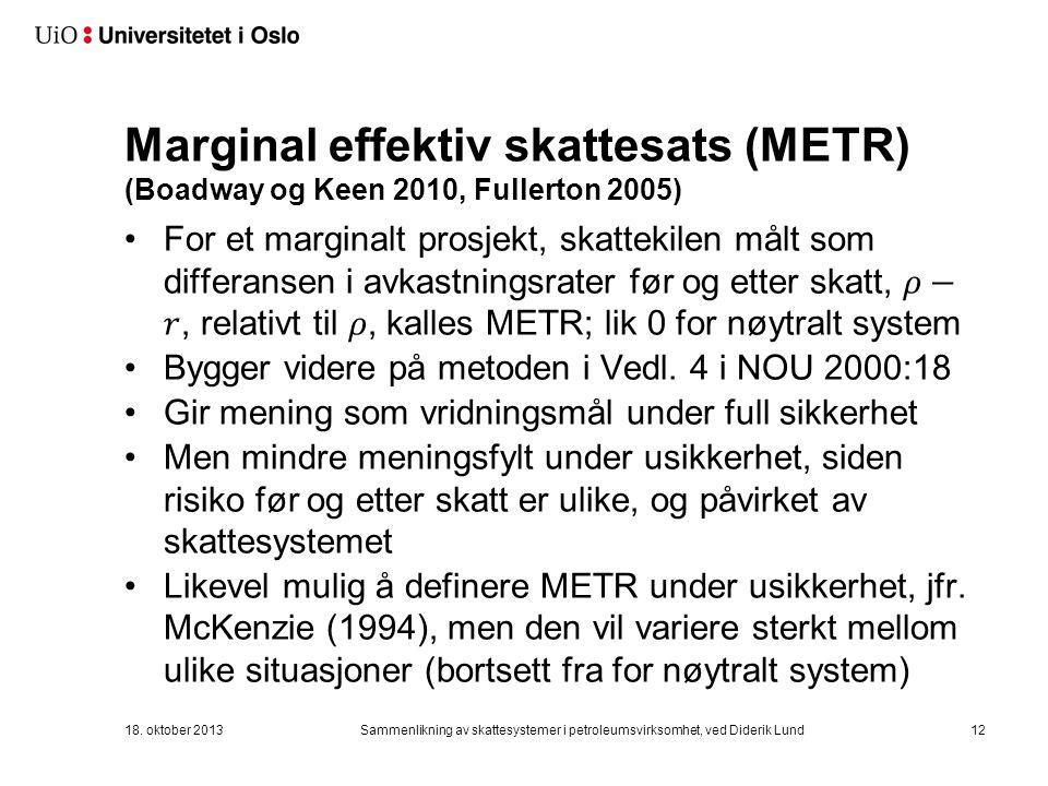 Marginal effektiv skattesats (METR) (Boadway og Keen 2010, Fullerton 2005) 18.