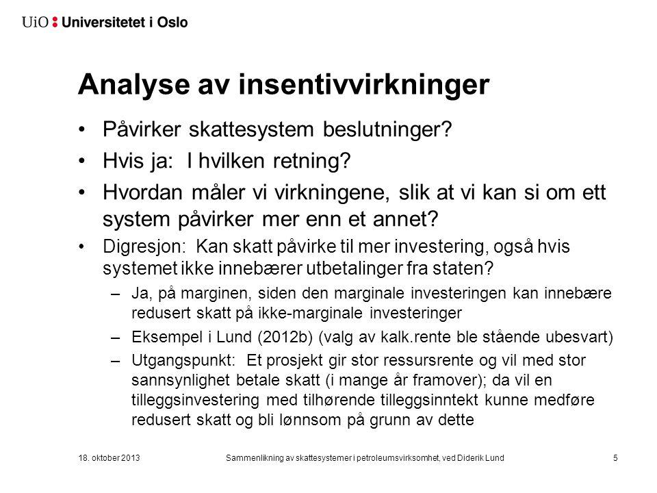 Analyse av insentivvirkninger Påvirker skattesystem beslutninger.