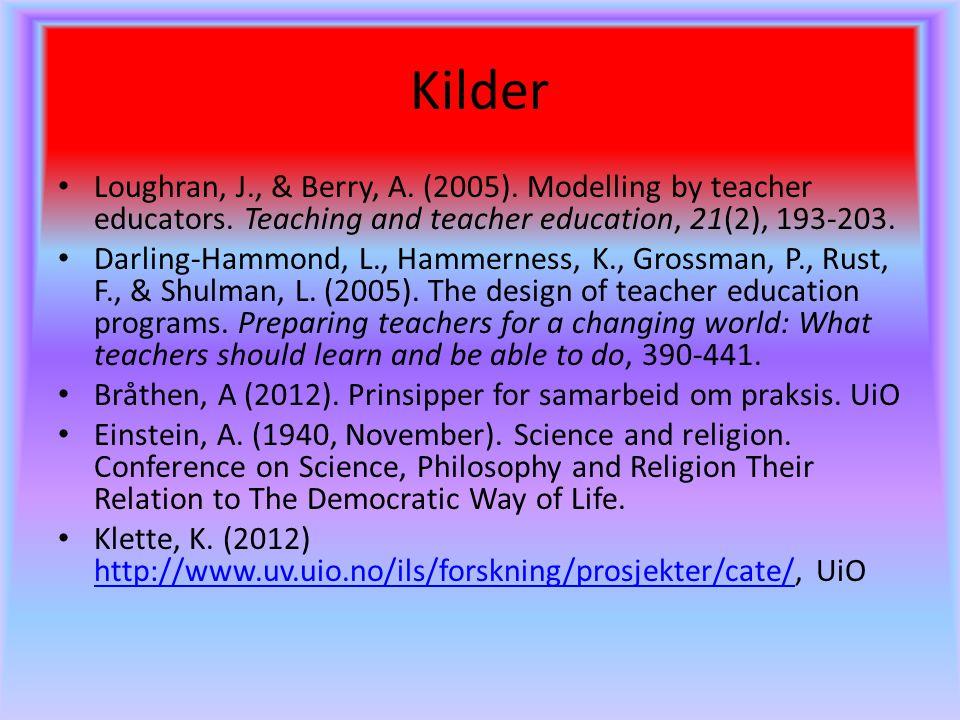 Kilder Loughran, J., & Berry, A. (2005). Modelling by teacher educators. Teaching and teacher education, 21(2), 193-203. Darling-Hammond, L., Hammerne