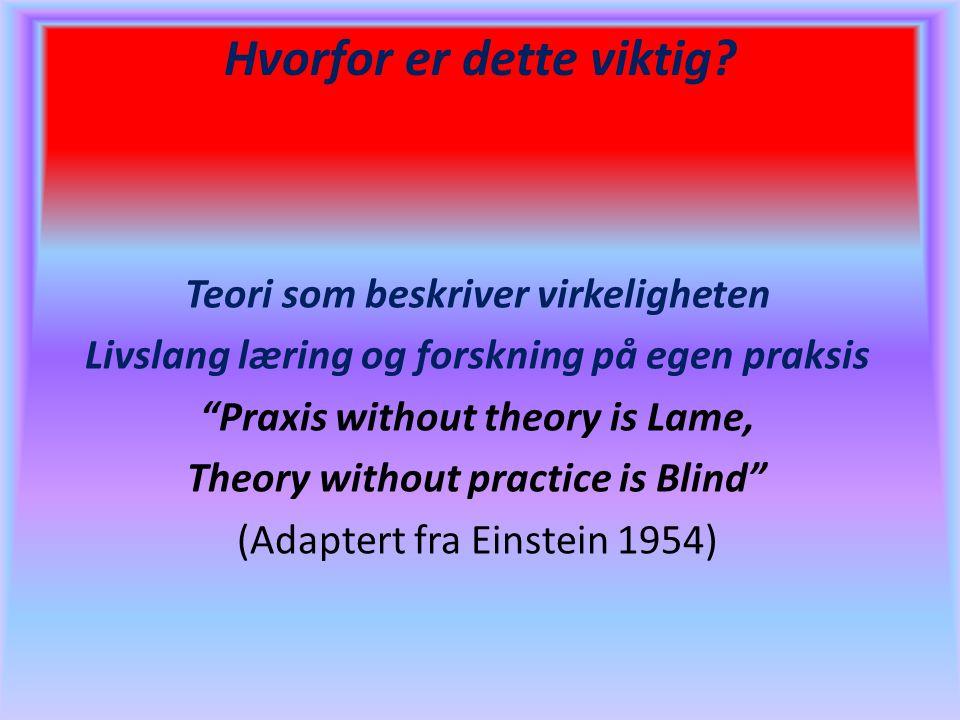"""Hvorfor er dette viktig? Teori som beskriver virkeligheten Livslang læring og forskning på egen praksis """"Praxis without theory is Lame, Theory without"""