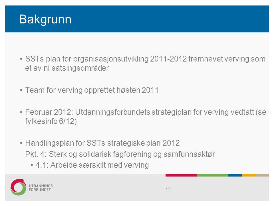 Bakgrunn SSTs plan for organisasjonsutvikling 2011-2012 fremhevet verving som et av ni satsingsområder Team for verving opprettet høsten 2011 Februar 2012: Utdanningsforbundets strategiplan for verving vedtatt (se fylkesinfo 6/12) Handlingsplan for SSTs strategiske plan 2012 Pkt.