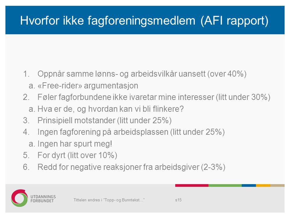 Hvorfor ikke fagforeningsmedlem (AFI rapport) 1.Oppnår samme lønns- og arbeidsvilkår uansett (over 40%) a. «Free-rider» argumentasjon 2.Føler fagforbu