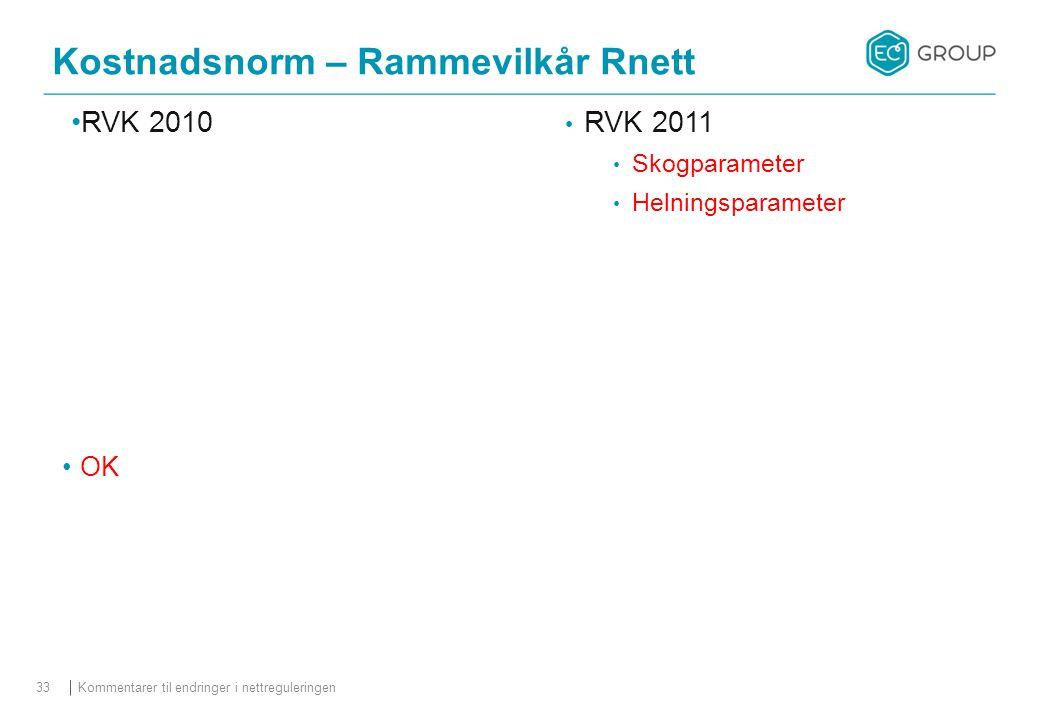 Kostnadsnorm – Rammevilkår Rnett Kommentarer til endringer i nettreguleringen33 RVK 2010 RVK 2011 Skogparameter Helningsparameter OK