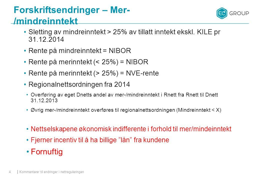 Forskriftsendringer – Mer- /mindreinntekt Sletting av mindreinntekt > 25% av tillatt inntekt ekskl. KILE pr 31.12.2014 Rente på mindreinntekt = NIBOR
