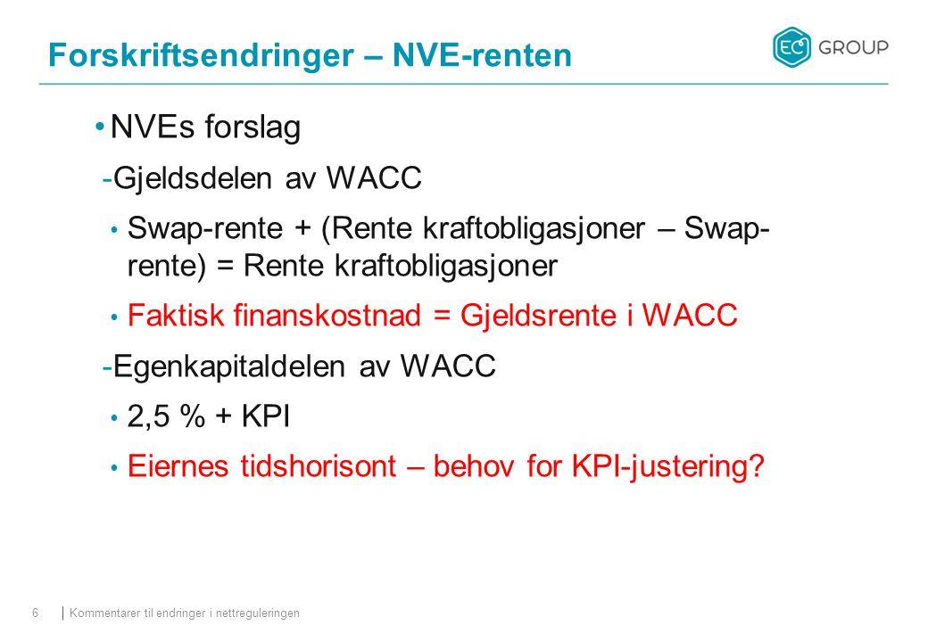 NVEs forslag  Gjeldsdelen av WACC Swap-rente + (Rente kraftobligasjoner – Swap- rente) = Rente kraftobligasjoner Faktisk finanskostnad = Gjeldsrente i WACC  Egenkapitaldelen av WACC 2,5 % + KPI Eiernes tidshorisont – behov for KPI-justering.