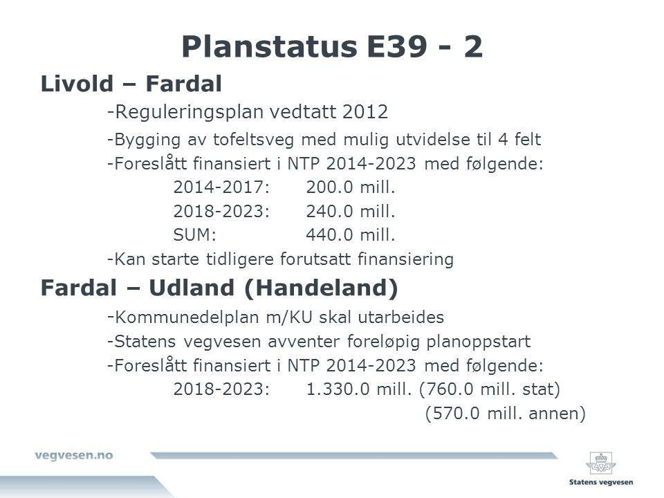 Planstatus E39 - 2 Livold – Fardal -Reguleringsplan vedtatt 2012 -Bygging av tofeltsveg med mulig utvidelse til 4 felt -Foreslått finansiert i NTP 2014-2023 med følgende: 2014-2017:200.0 mill.