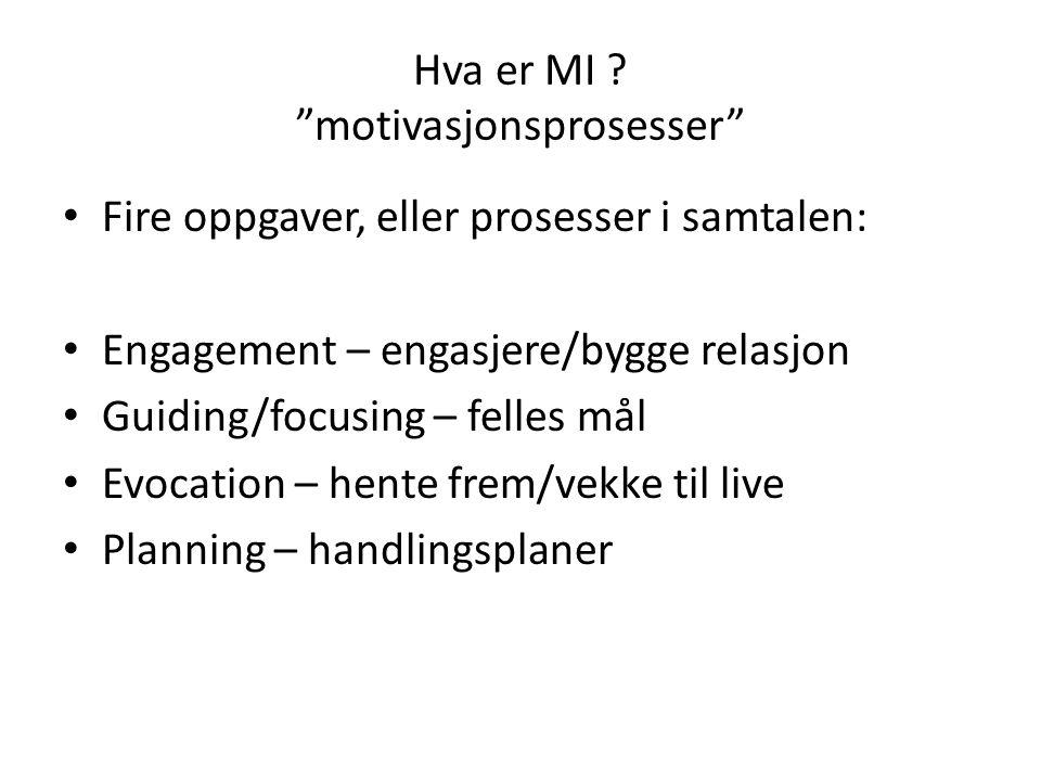 """Hva er MI ? """"motivasjonsprosesser"""" Fire oppgaver, eller prosesser i samtalen: Engagement – engasjere/bygge relasjon Guiding/focusing – felles mål Evoc"""