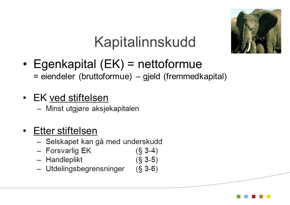Kapitalinnskudd Egenkapital (EK) = nettoformue = eiendeler (bruttoformue) – gjeld (fremmedkapital) EK ved stiftelsen –Minst utgjøre aksjekapitalen Ett