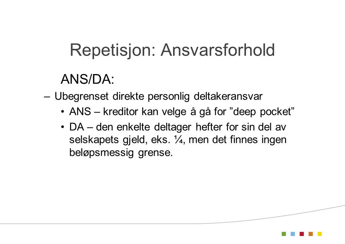 """Repetisjon: Ansvarsforhold ANS/DA: –Ubegrenset direkte personlig deltakeransvar ANS – kreditor kan velge å gå for """"deep pocket"""" DA – den enkelte delta"""