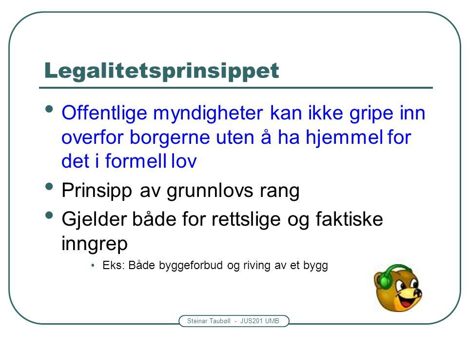 Steinar Taubøll - JUS201 UMB Legalitetsprinsippet Offentlige myndigheter kan ikke gripe inn overfor borgerne uten å ha hjemmel for det i formell lov P
