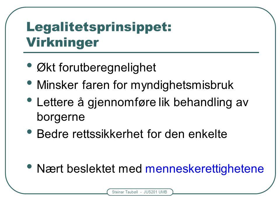 Steinar Taubøll - JUS201 UMB Legalitetsprinsippet: Virkninger Økt forutberegnelighet Minsker faren for myndighetsmisbruk Lettere å gjennomføre lik beh