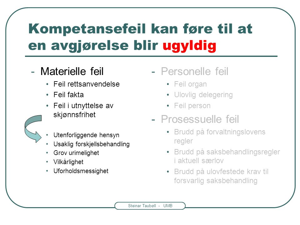 Steinar Taubøll - UMB Kompetansefeil kan føre til at en avgjørelse blir ugyldig -Materielle feil Feil rettsanvendelse Feil fakta Feil i utnyttelse av