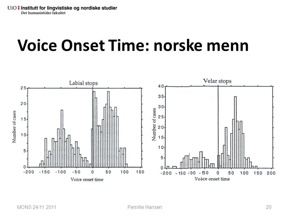 Voice Onset Time: norske menn MONS 24/11 2011Pernille Hansen20