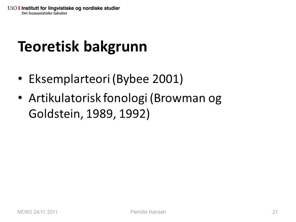 Teoretisk bakgrunn Eksemplarteori (Bybee 2001) Artikulatorisk fonologi (Browman og Goldstein, 1989, 1992) MONS 24/11 2011Pernille Hansen21
