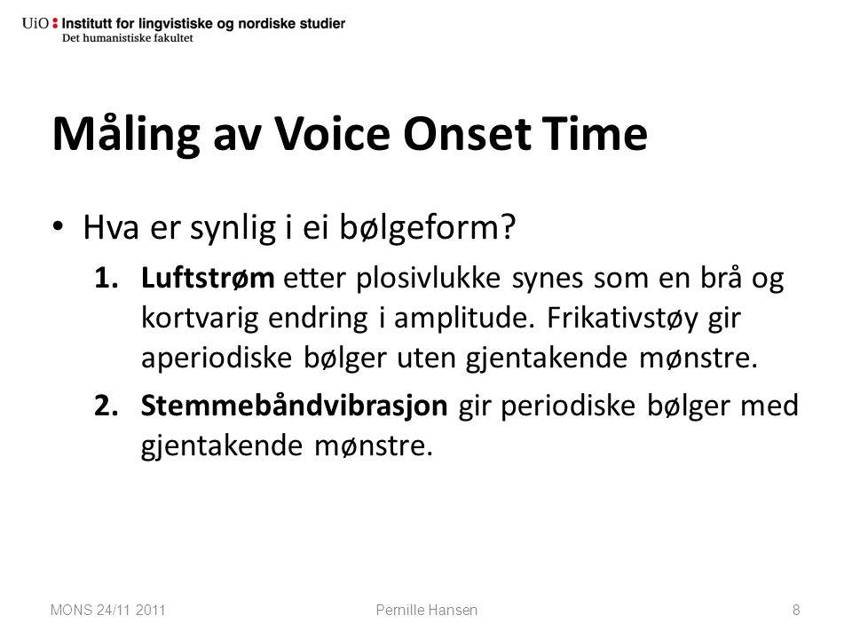 Måling av Voice Onset Time Hva er synlig i ei bølgeform? 1.Luftstrøm etter plosivlukke synes som en brå og kortvarig endring i amplitude. Frikativstøy