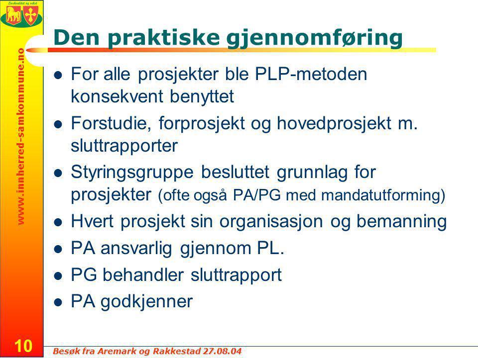 Besøk fra Aremark og Rakkestad 27.08.04 www.innherred-samkommune.no 10 Den praktiske gjennomføring For alle prosjekter ble PLP-metoden konsekvent benyttet Forstudie, forprosjekt og hovedprosjekt m.