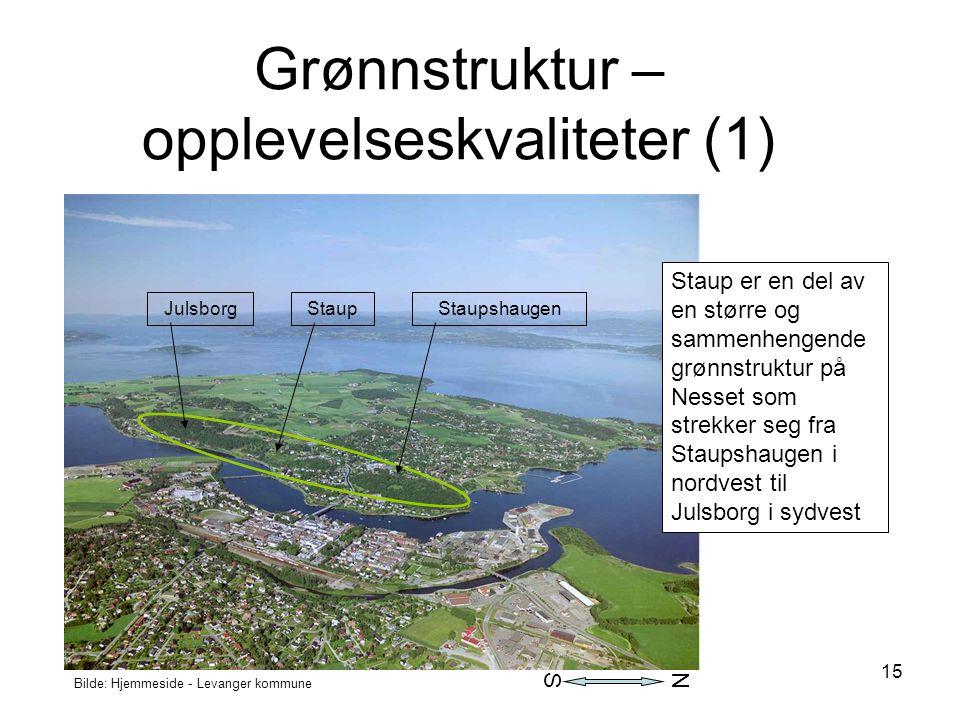 15 Bilde: Hjemmeside - Levanger kommune Grønnstruktur – opplevelseskvaliteter (1) Staup er en del av en større og sammenhengende grønnstruktur på Ness