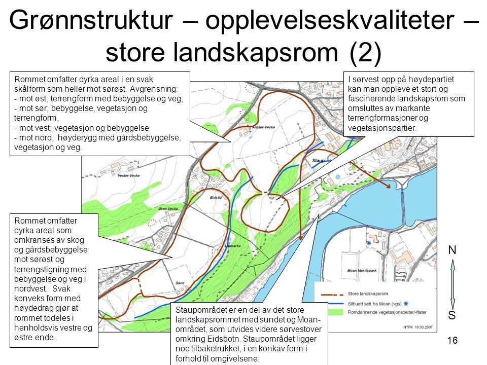 16 Grønnstruktur – opplevelseskvaliteter – store landskapsrom (2) S N Rommet omfatter dyrka areal som omkranses av skog og gårdsbebyggelse mot sørøst
