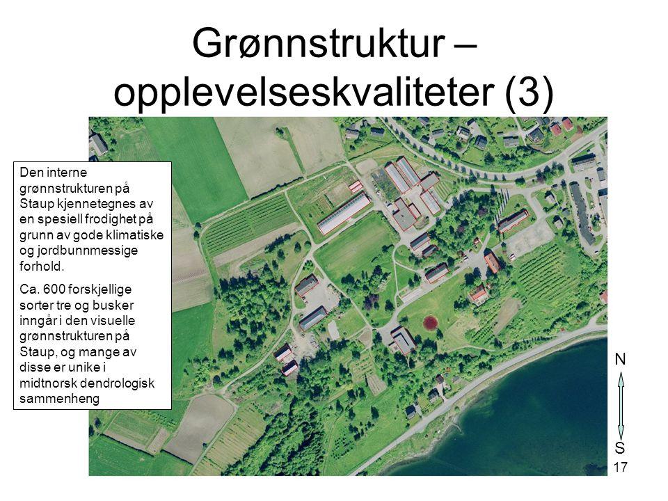 17 Grønnstruktur – opplevelseskvaliteter (3) Den interne grønnstrukturen på Staup kjennetegnes av en spesiell frodighet på grunn av gode klimatiske og