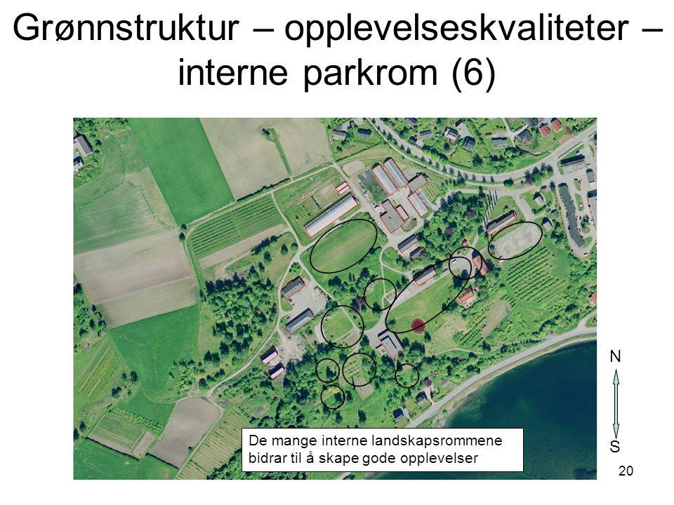 20 De mange interne landskapsrommene bidrar til å skape gode opplevelser S N Grønnstruktur – opplevelseskvaliteter – interne parkrom (6)