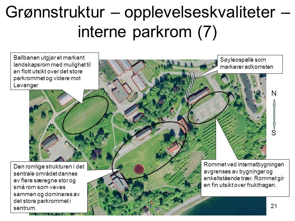 21 Søyleospallè som markerer adkomsten Den romlige strukturen i det sentrale området dannes av flere særegne stor og små rom som veves sammen og domin
