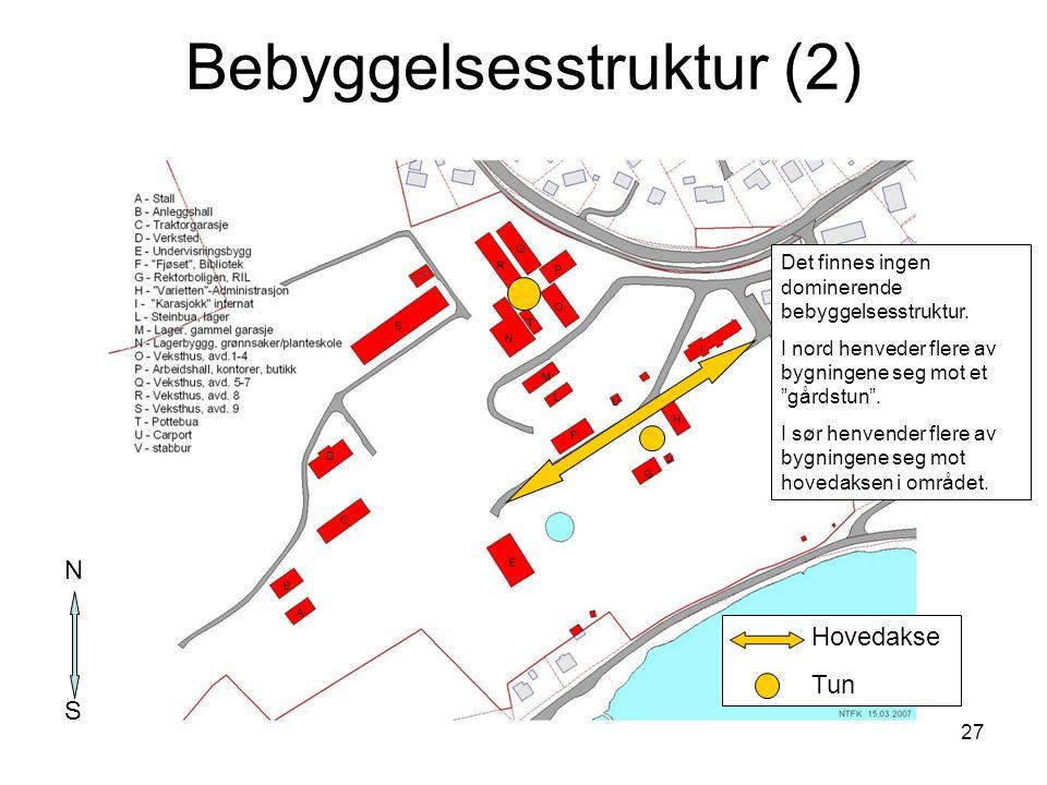 """27 Bebyggelsesstruktur (2) Det finnes ingen dominerende bebyggelsesstruktur. I nord henveder flere av bygningene seg mot et """"gårdstun"""". I sør henvende"""