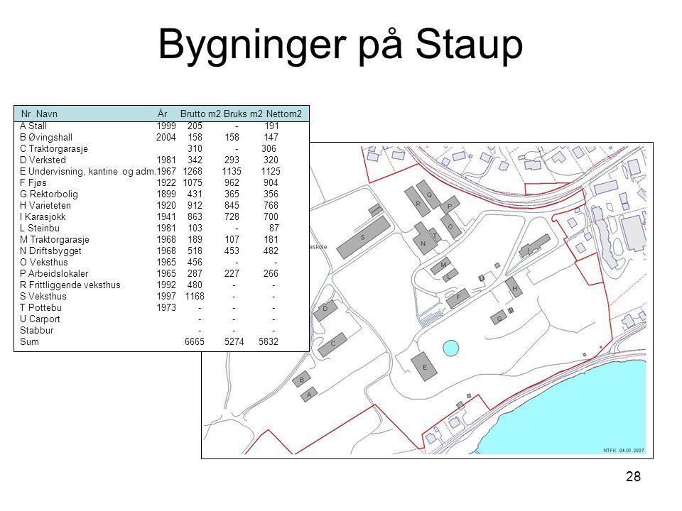 28 Bygninger på Staup Nr NavnÅr Brutto m2 Bruks m2 Nettom2 A Stall1999 205 - 191 B Øvingshall2004 158158 147 C Traktorgarasje 310 - 306 D Verksted1981