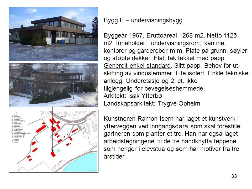 33 Bygg E – undervisningsbygg: Byggeår 1967. Bruttoareal 1268 m2. Netto 1125 m2. Inneholder undervisningsrom, kantine, kontorer og garderober m.m. Pla