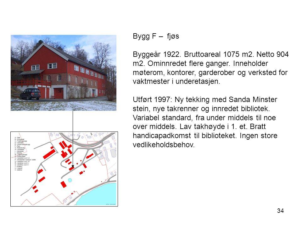 34 Bygg F – fjøs Byggeår 1922. Bruttoareal 1075 m2. Netto 904 m2. Ominnredet flere ganger. Inneholder møterom, kontorer, garderober og verksted for va