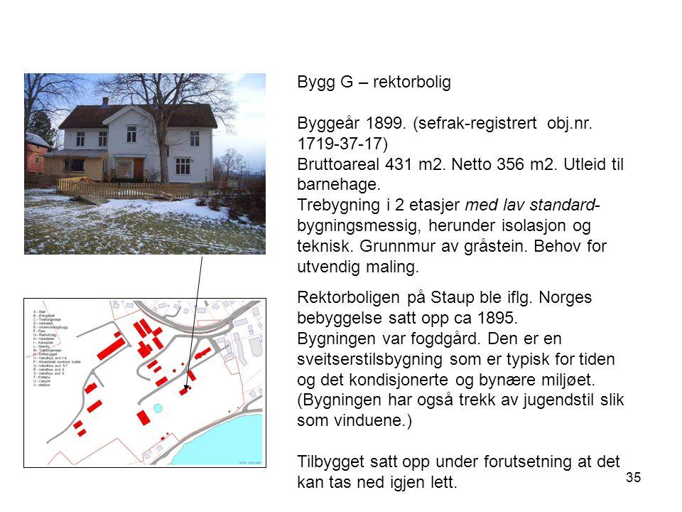 35 Bygg G – rektorbolig Byggeår 1899. (sefrak-registrert obj.nr. 1719-37-17) Bruttoareal 431 m2. Netto 356 m2. Utleid til barnehage. Trebygning i 2 et