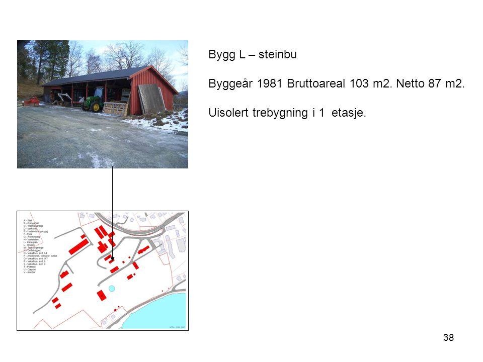 38 Bygg L – steinbu Byggeår 1981 Bruttoareal 103 m2. Netto 87 m2. Uisolert trebygning i 1 etasje.