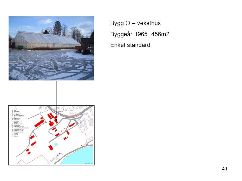 41 Bygg O – veksthus Byggeår 1965. 456m2 Enkel standard.