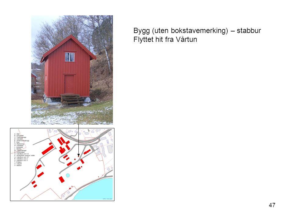 47 Bygg (uten bokstavemerking) – stabbur Flyttet hit fra Vårtun