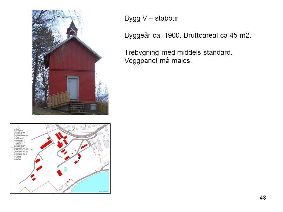 48 Bygg V – stabbur Byggeår ca. 1900. Bruttoareal ca 45 m2. Trebygning med middels standard. Veggpanel må males.