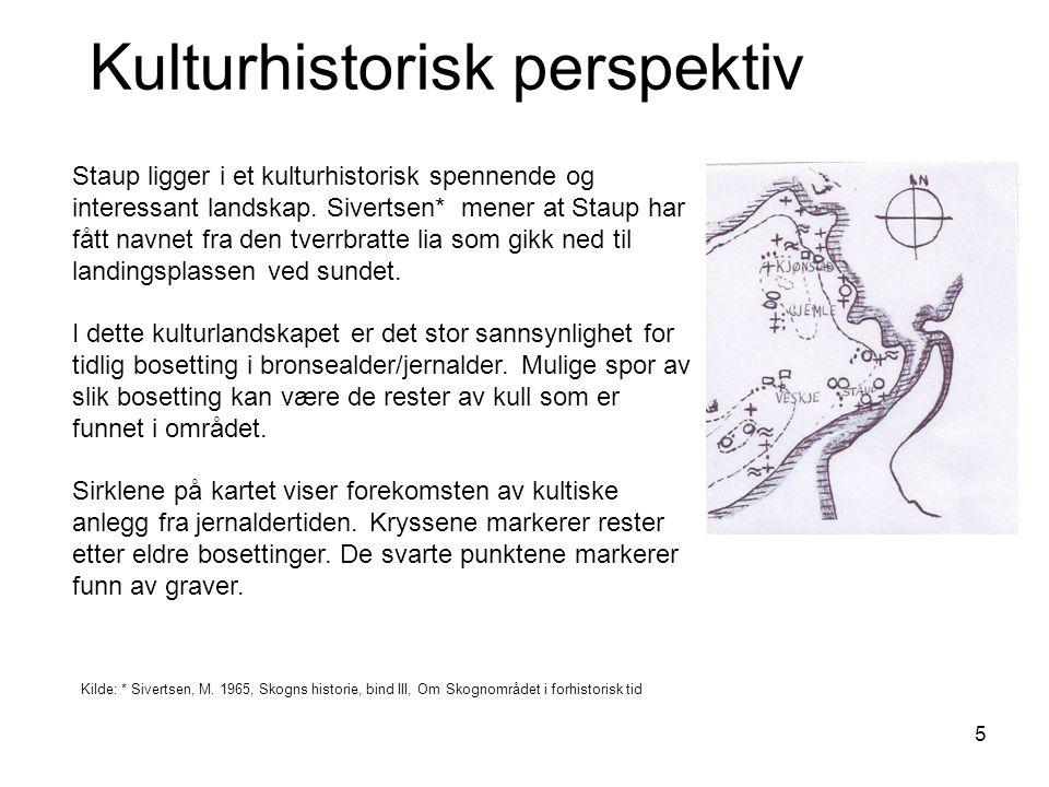 6 Kulturhistorisk perspektiv (2) I et agrarhistorisk perspektiv er Staup også interessant fordi den har gnr.