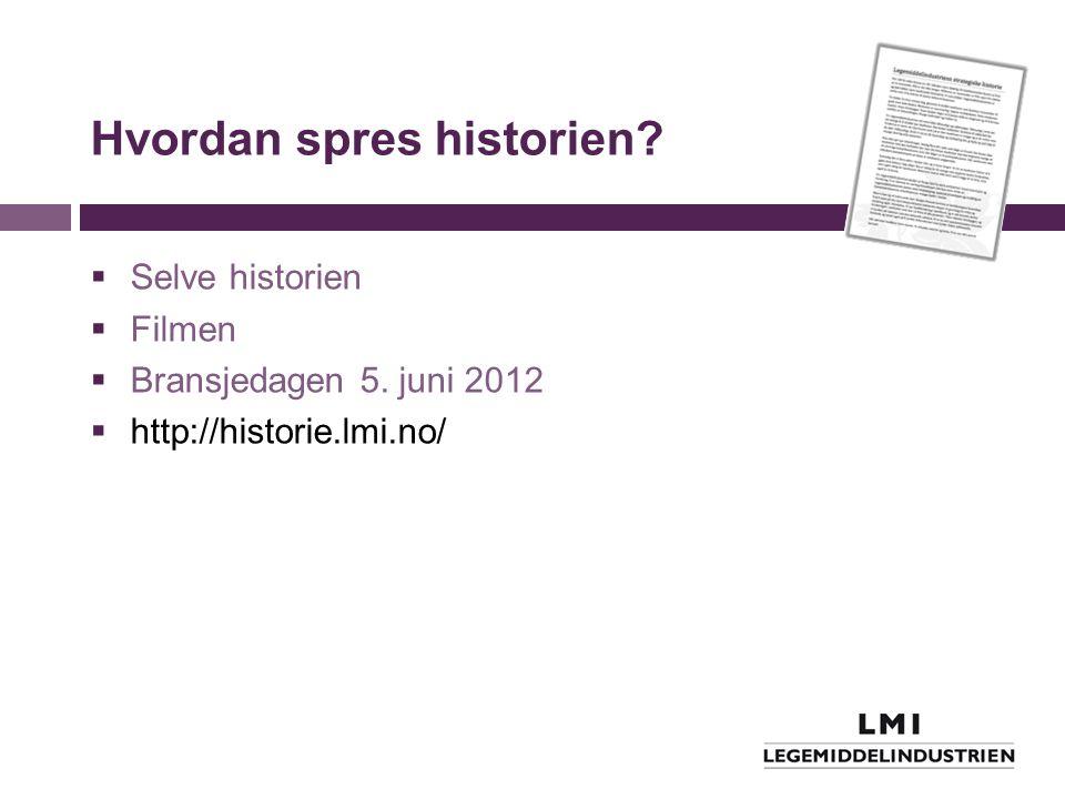 Hvordan spres historien?  Selve historien  Filmen  Bransjedagen 5. juni 2012  http://historie.lmi.no/
