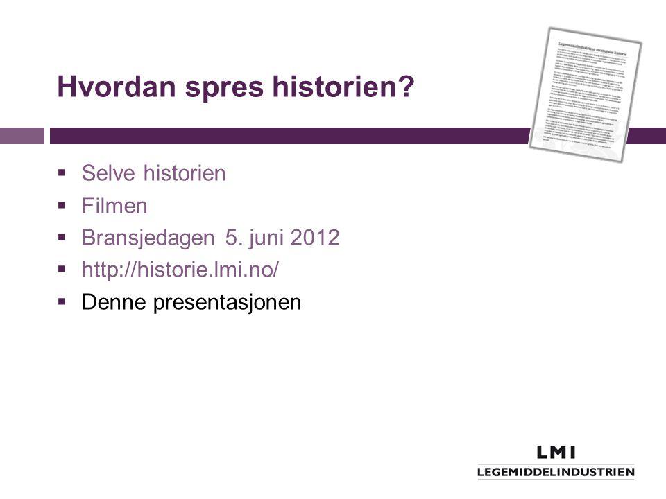 Hvordan spres historien?  Selve historien  Filmen  Bransjedagen 5. juni 2012  http://historie.lmi.no/  Denne presentasjonen