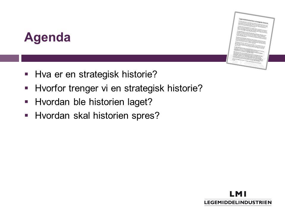 Agenda  Hva er en strategisk historie?  Hvorfor trenger vi en strategisk historie?  Hvordan ble historien laget?  Hvordan skal historien spres?
